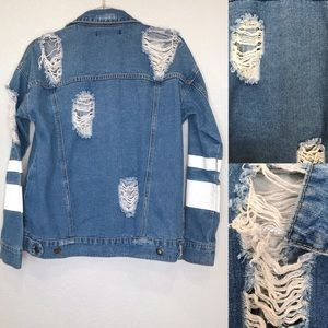Forever 21 Jackets & Coats - F21 destructed denim varsity style jean jacket